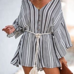 Vici Rope Swing Striped Kimono Romper